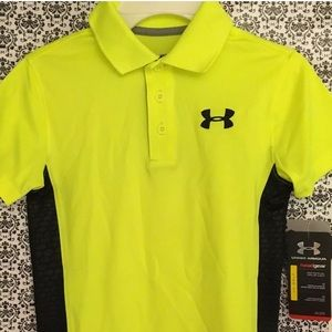 NEW Under Armour Golf Polo HI VISION/BLK Boys XS
